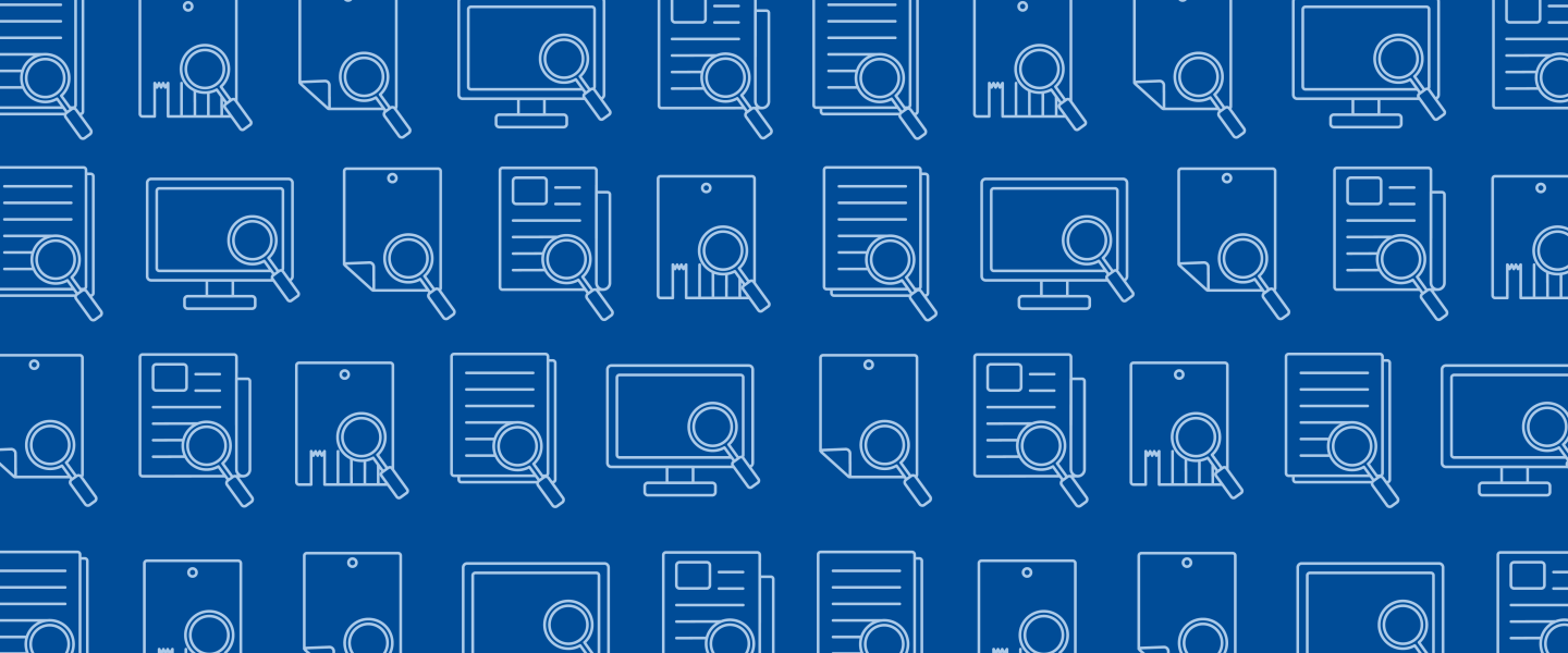 graphic banner image of computer screens and documents with search icons against a blue background